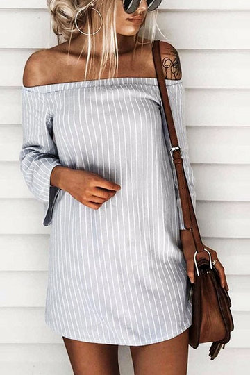 Grey Sexy Off Shoulder Lace Up Stripe Patern Mini Dress