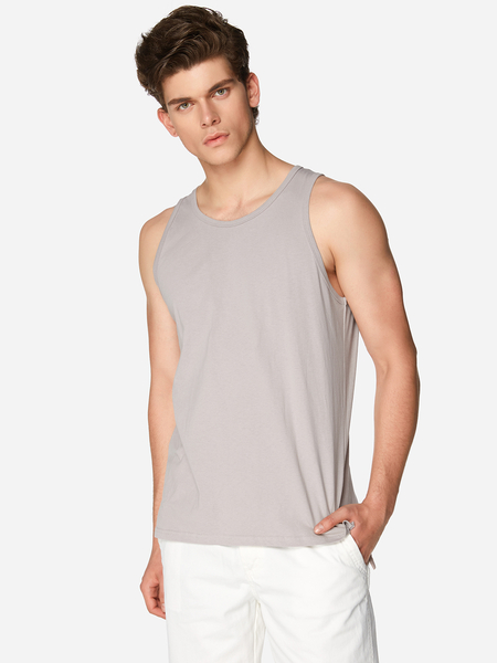Solid Color Side Split Crew Neck Sleeveless Basic Style Men's Vest