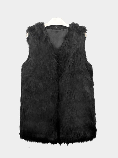 Schwarzes Sleeveless Faux-Pelz-Mantel