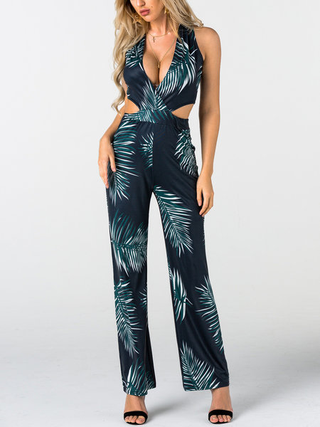 Dark Green Side Cut Out Random Floral Print V-neck Sleeveless Long Playsuit