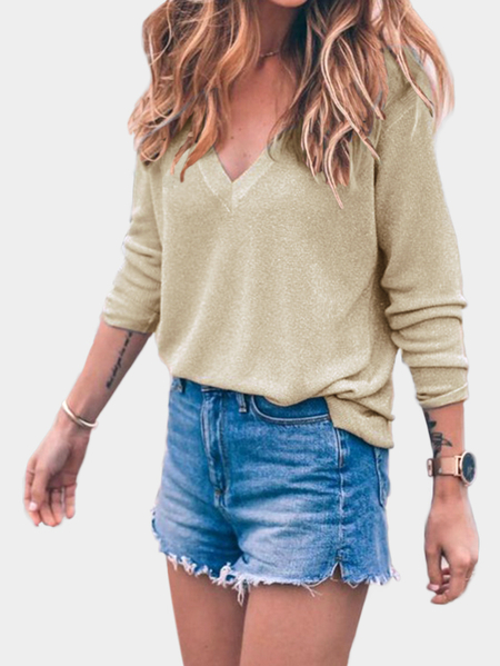 Khaki V-neck Long Sleeves Sweater Jumper