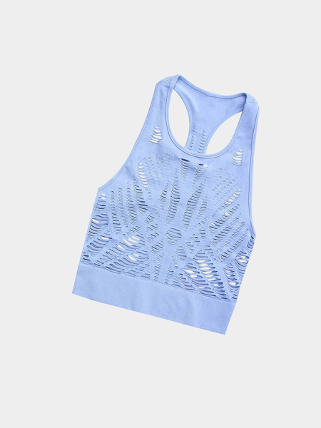 Active Cut Out Quick Drying Elastic Band Vest in Light Blue