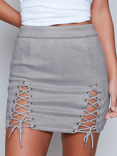 Grey Lace-up Design Bodycon Skirt