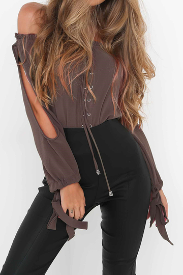 Coffee Off Shoulder Lace-up Design Top
