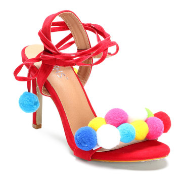 Red Pom-pom Decorated Lace-up High Heels