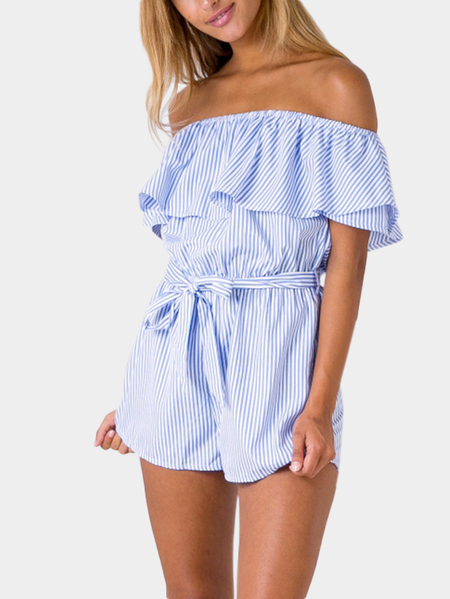 Stripe Pattern Off Shoulder Flouncy Details Playsuit