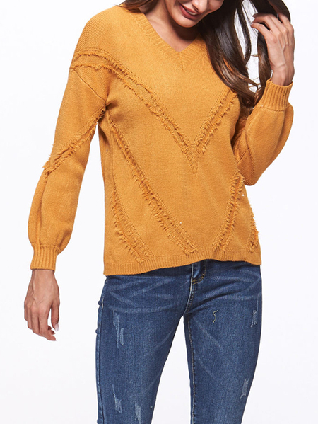 Yellow Pullover V-neck Long Sleeves Sweater