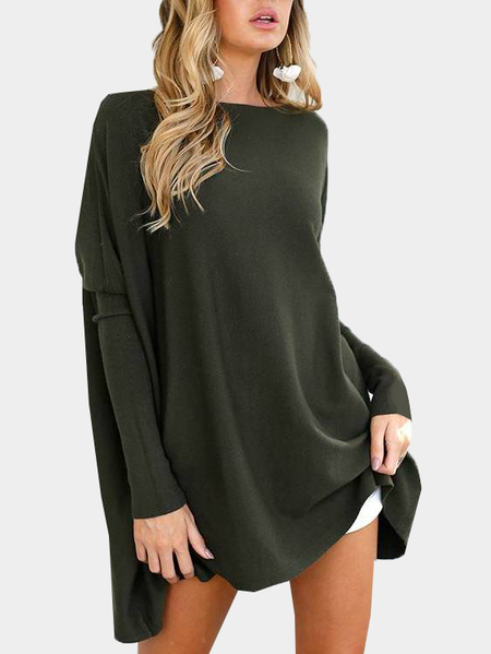 Army Green Crew Neck Long Sleeves T-shirt
