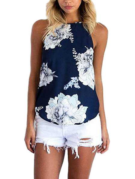 Random Floral Print Cami Top in Blue