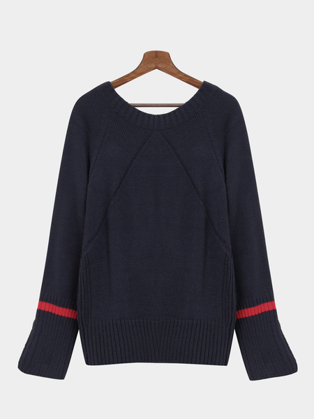Navy Loose Irregular Hit Color Side Split Sweater