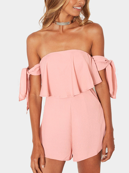 Pink Sexy Off Shoulder Self-tie Design Playsuit em camadas
