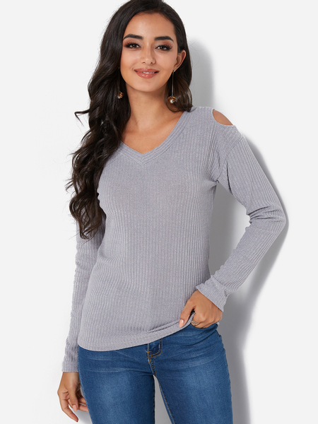 Grey V-neck Cold Shoulder Long Sleeves Sweater