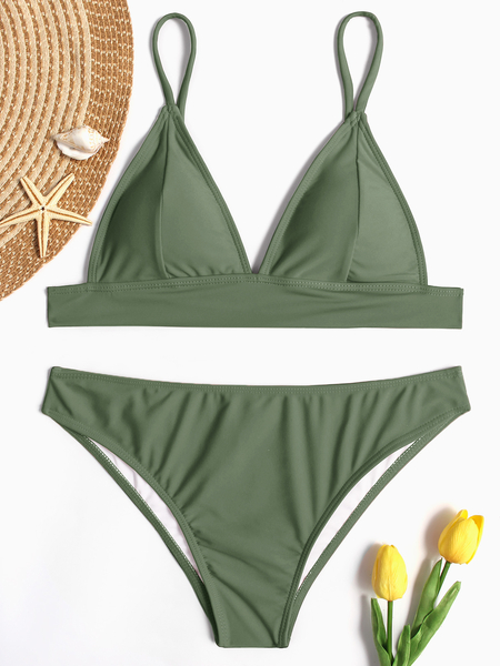 Green Sexy Simply Minimal Bikini Set