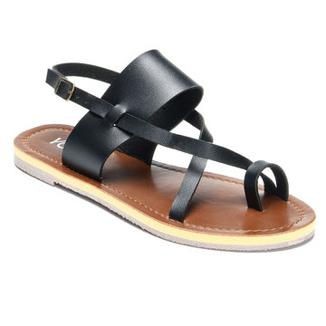 Black Ring Toe Flat Sandals