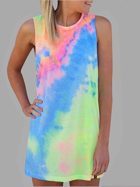Random Color Print Round Neck Mini Dress