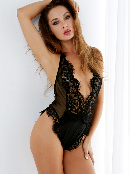 Black Eyelash Lace Trim Sexy Deep V-neck Mesh Bodysuit Teddy