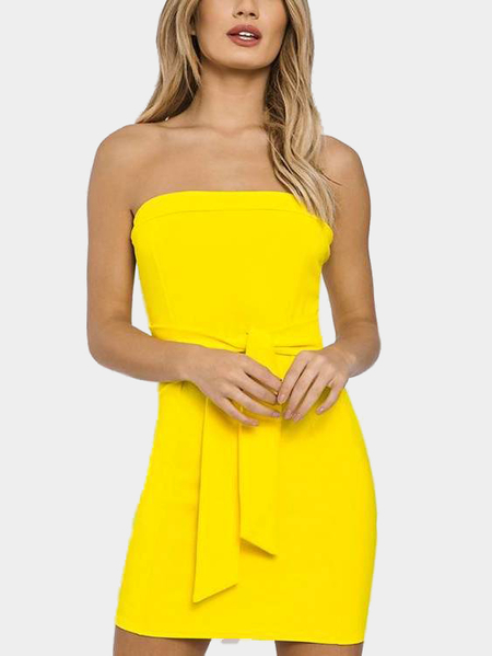 Amarillo Strapless Tie-up frontal Bodycon mini vestido