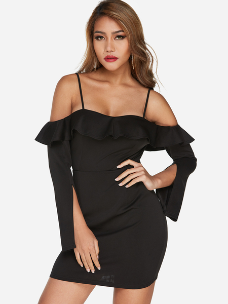 Black Cold Shoulder Frill Neck Long Sleeves Bodycon Hem Dress