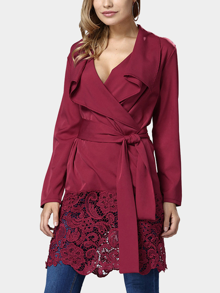 Burgundy Lapel Collar Open Front Self Tie Belt Lace Hem Thin Mini Dress