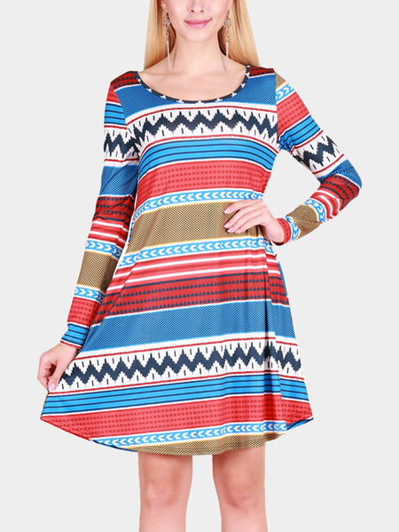 Stripe pattern Round Neck Long Sleeves Christmas Dress