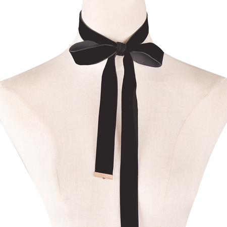 Black Bowknot Choker Necklace Adjustable