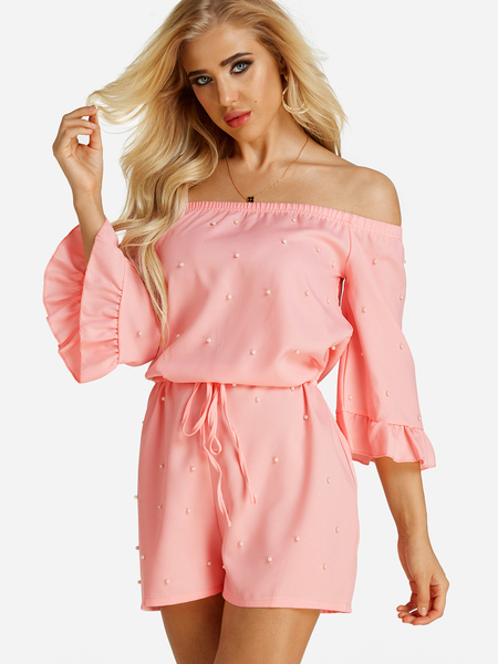Pink Polka Dot Lace-up Off The Shoulder Mini Playsuits