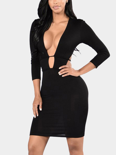 Black Bodycon Deep V Front Design Lace-up Backless Party Dress