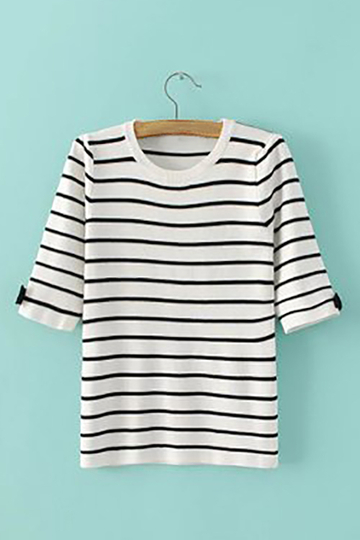 White Stripe Pattern Bow Details Knit T-shirt