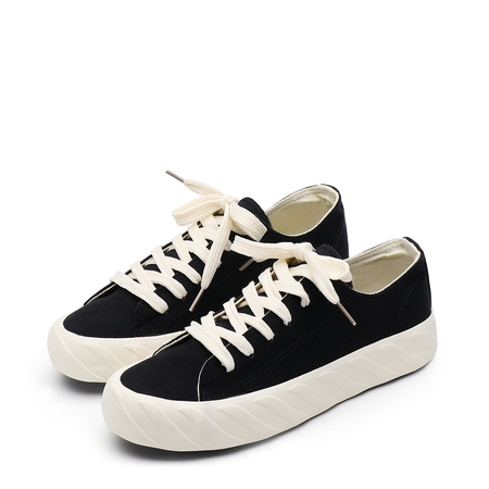 Black Round toe Lace-up Platform Sneakers