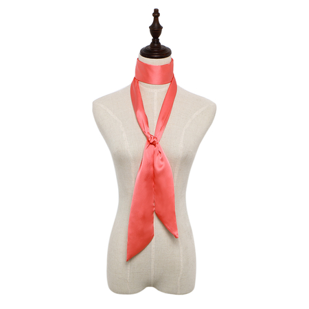 Silky-look Skinny Long Scarf in Watermelon Red