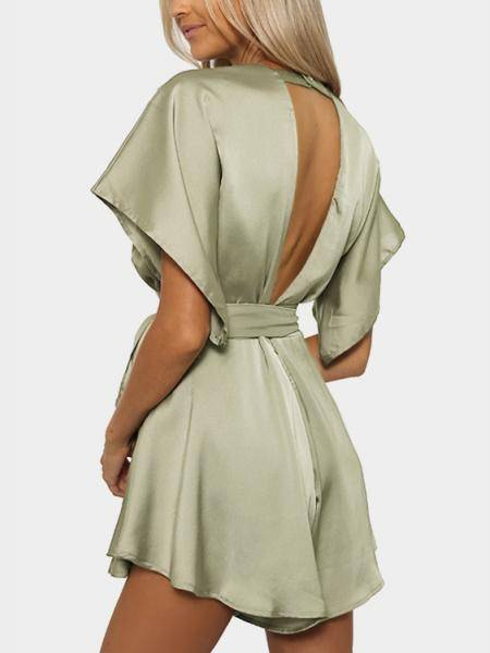 Light Green V-neck Cut Out Self-tie Playsuit