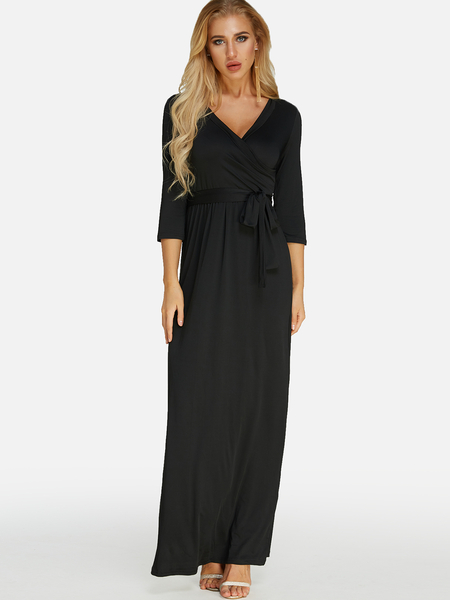 Black Belt design Cross Front V-neck 3/4 Length Sleeves Maxi Dress