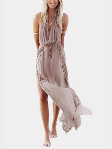 Bohemia Sleeveless Back Lace-up Side Split Beach Maxi Dress