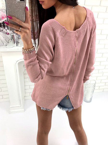 Pink Zip Back Design Round Neck Long Sleeves Knitted Sweaters