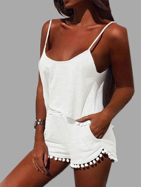 White Casual Sport Sleeveless Top and Elastic Waist Short Co-ord with Pom Pom Details