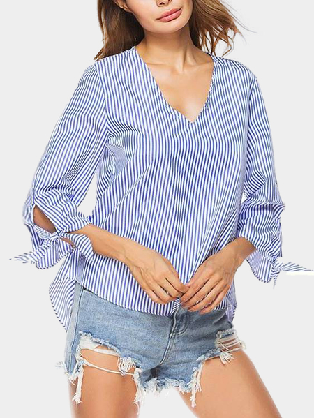Blue Stripe Pattern V-neck 3/4 Length Sleeves Blouse