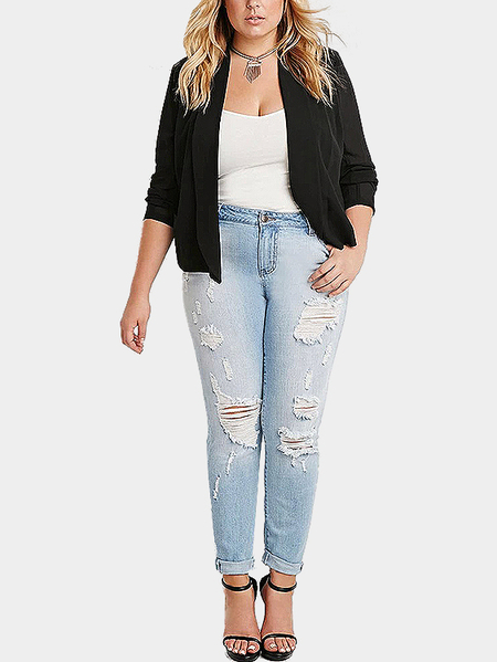 Plus Size Black Cropped Blazer
