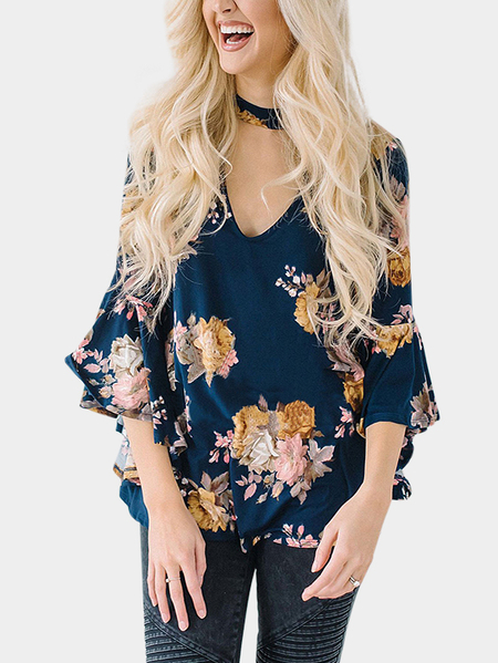 Blue Floral Print Choker Flared Sleeves  Blouses