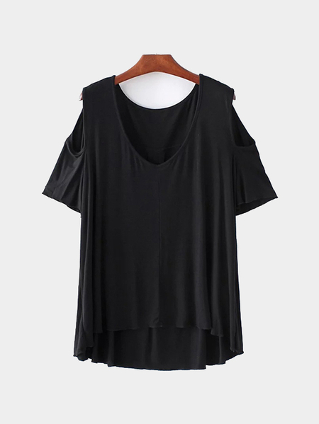 V-neck Cold Shoulder High Low Hem T-shirt in Black
