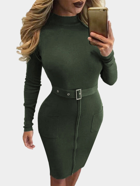 Armygreen Zipper Front Two Pockets Bodycon Dress with Belt