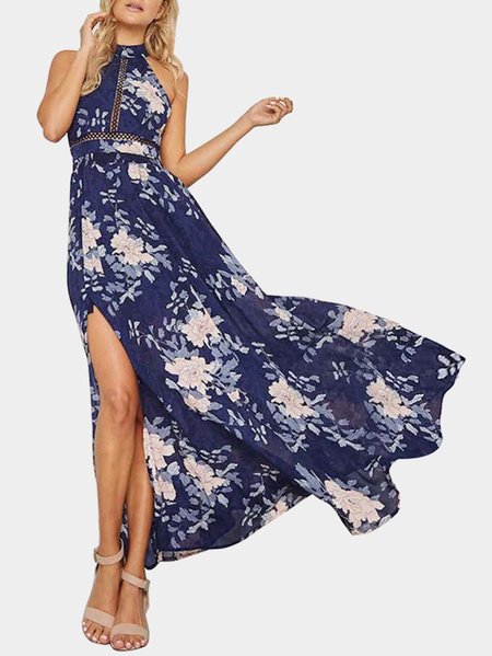 Blue Floral Print Halter Backless Design Sleeveless Maxi Dresses