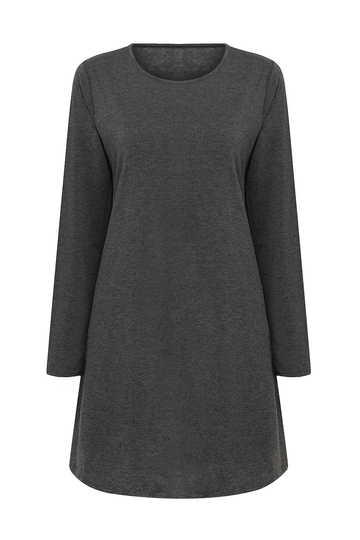 Grey Swing Dress with Long Sleeves