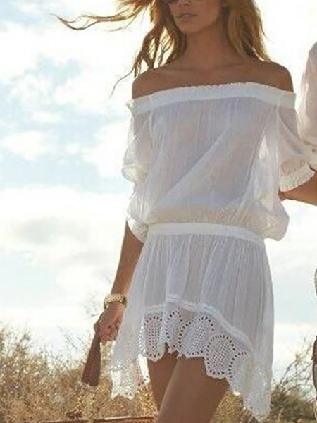 White See Through Off Shoulder Dress