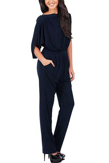 Navy Pleated Details Half Sleeves Jumpsuit