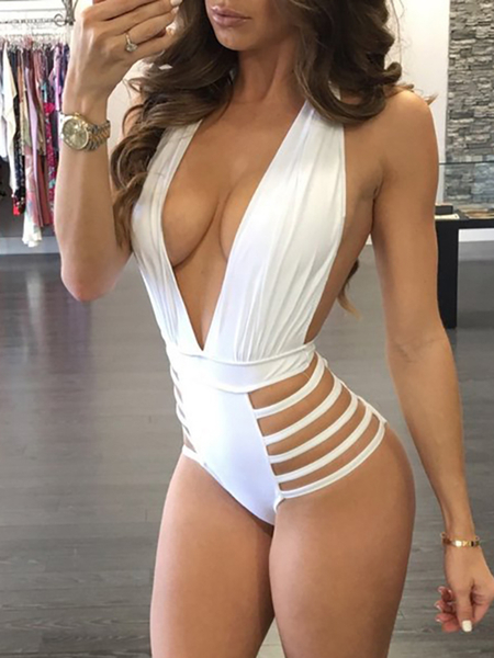 White Sexy Cut Out Backless One Piece Bikinis