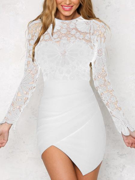 White Wrap Front Irregular Hem Long Sleeves Mini Dress with Lace Details