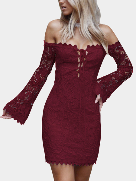 Burgundy Lace-up Design Off The Shoulder Long Sleeves Lace Dress
