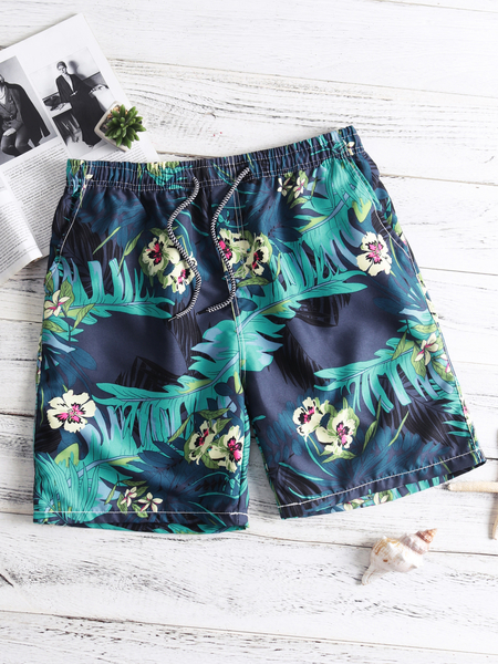 Blue Floral Casual Style Tether Syretch Waistband Pocket Design Men's Shorts