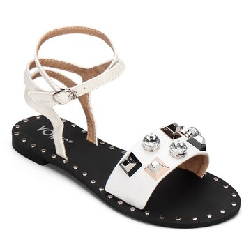 White Gold-tone Hardware Leather Look Strap Flat Sandals