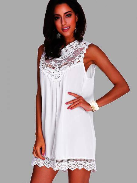 See-through Hollow Out Lace A-line Mini Dress